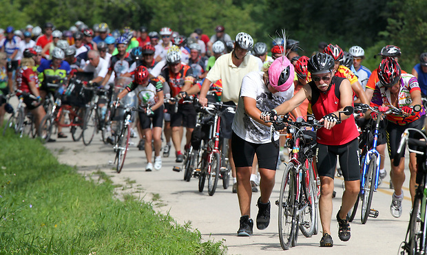 Most RAGBRAI riders needed to dismpunt and walk up Potter Hill outside of Graf on Saturday.  Many riders said the mile long, steep hill was the hardest hill they've ever had to climb.