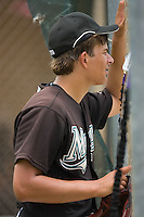 Pitcher Brad Hand (15) of the Gulf Coast Marlins watches the action through the fence after being taken out of the game at the Roger Dean Complex in Jupiter, FL, Friday July 18, 2008. (Photo by Brian Westerholt / Four Seam Images)