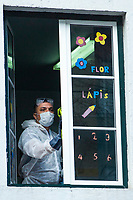 LISBON, PORTUGAL - March 6 : A man its seen cleaning a school after Coronavirus case on March 6, 2020 in Lisbon, Portugal. <br /> Portugal has already confirmed six positive cases of coronavirus. The sixth case is that of a woman (the first), from the district of Lisbon, who was in Italy. The Grão Vasco boarding school in Benfica, Lisbon, closed on Thursday afternoon after the mother of a student was hospitalized with coronavirus.<br /> (Photo by Luis Boza/VIEWpress)