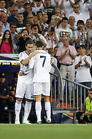 02.09.2012 SPAIN -  La Liga 12/13 Matchday 3th  match played between Real Madrid CF vs  Granada C.F. (3-0) at Santiago Bernabeu stadium. The picture show  Cristiano Ronaldo (Portuguese forward of Real Madrid) and  Gonzalo Higuain (Argentine/French Forward of Real Madrid)
