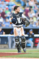 Asheville Tourists catcher Max George (22) during a game against the Charleston RiverDogs at McCormick Field on August 16, 2019 in Asheville, North Carolina. The Tourists defeated the RiverDogs 12-3. (Tony Farlow/Four Seam Images)
