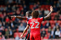 Grimsby Town's Tom Bolarinwa and Leyton Orient's Sandro Semedo seen during the Sky Bet League 2 match between Leyton Orient and Grimsby Town at the Matchroom Stadium, London, England on 11 March 2017. Photo by Carlton Myrie / PRiME Media Images.