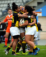 Ayesha Leti-l'iga scores during the Farah Palmer Cup women's provincial rugby match between Wellington Pride  and Auckland at Jerry Collins Stadium / Porirua Park, Wellington, New Zealand on Saturday, 23 September 2017. Photo: Dave Lintott / lintottphoto.co.nz