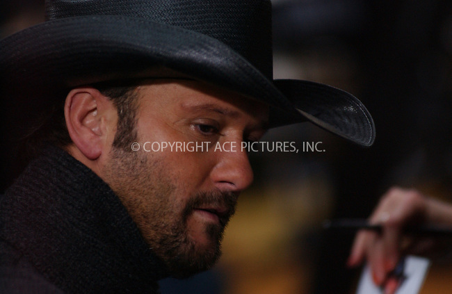 WWW.ACEPIXS.COM . . . . . ....NEW YORK, NOVEMBER 23, 2004....Tim McGraw on The Today Show.....Please byline: ACE006 - ACE PICTURES.. . . . . . ..Ace Pictures, Inc:  ..Alecsey Boldeskul (646) 267-6913 ..Philip Vaughan (646) 769-0430..e-mail: info@acepixs.com..web: http://www.acepixs.com