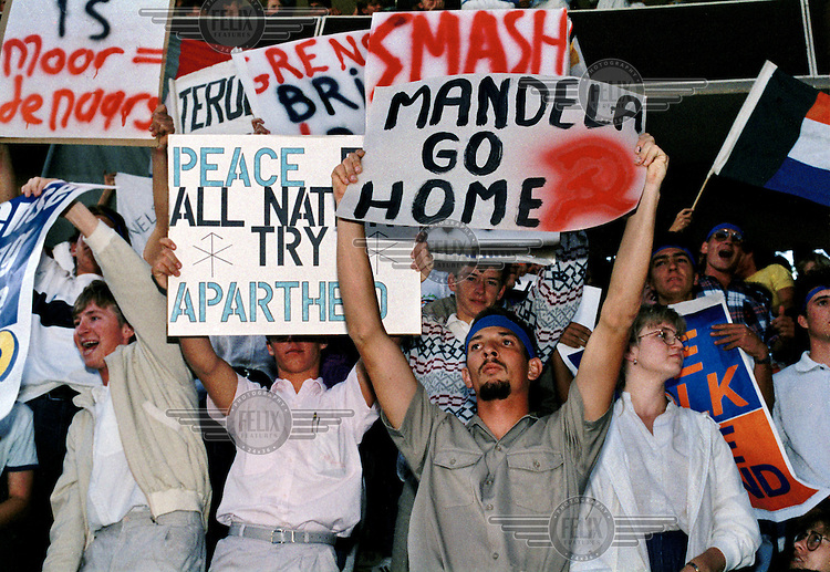 Right wing white students demonstrate at Pretoria University against the visit by Nelson Mandela in the dying days of the apartheid era.