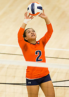 NWA Democrat-Gazette/BEN GOFF @NWABENGOFF<br /> Berenice Morales, Rogers Heritage libero, sets the ball in the 2nd set vs Bentonville West Thursday, Sept. 13, 2018, at War Eagle Arena in Rogers.