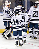 Ryan Rondeau (Yale - 1), Antoine Laganiere (Yale - 28), Broc Little (Yale - 14), Clinton Bourbonais (Yale - 15), Colin Dueck (Yale - 21) - The Yale University Bulldogs defeated the Air Force Academy Falcons 2-1 (OT) in their East Regional Semi-Final matchup on Friday, March 25, 2011, at Webster Bank Arena at Harbor Yard in Bridgeport, Connecticut.