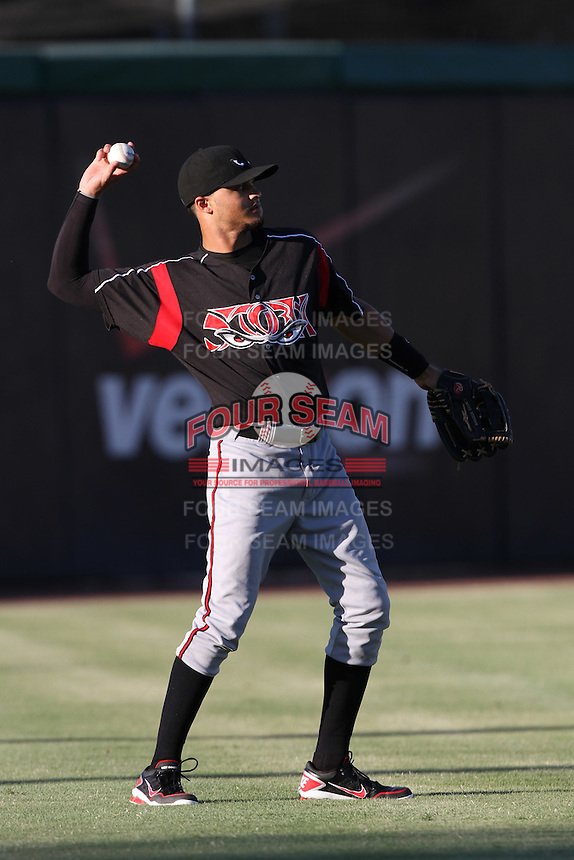 Donovan Tate #2 of the Lake Elsinore Storm during a game against the Inland Empire 66'ers at San Manuel Stadium on July 15, 2012 in San Bernardino, California. Inland Empire defeated Lake Elsinore 4-3. (Larry Goren/Four Seam Images)