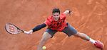Milos Raonic (CAN) defeats Yen Hsun Lu (TPE) 6-2, 6-1 at the Monte Carlo Rolex Masters tournament in Monte Carlo, Monaco on April 17, 2014.