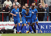 Bagasan Graham of Chelmsford City is congratulated after scoring the opening goal during Ebbsfleet United vs Chelmsford City, Vanarama National League South Play-Off Final Football at The PHB Stadium on 13th May 2017