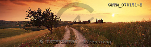 Tom Mackie, LANDSCAPES, panoramic, photos, Track leading to Cappella di Vitaleta, Val d' Orcia, near Pienza, Tuscany, Italy, GBTM070151-2,#L#