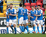 St Johnstone v Ross County&hellip;12.05.18&hellip;  McDiarmid Park    SPFL<br />David Wotherspoon celebrates his goal<br />Picture by Graeme Hart. <br />Copyright Perthshire Picture Agency<br />Tel: 01738 623350  Mobile: 07990 594431