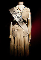 An old dress worn by Miss Frontier at Frontier Days is on display at the Old West Museum in Cheyenne, Wyoming, Thursday, June 2, 2011.  The museum celebrates Frontier Days which occurs at the end of July...Photo by Matt Nager