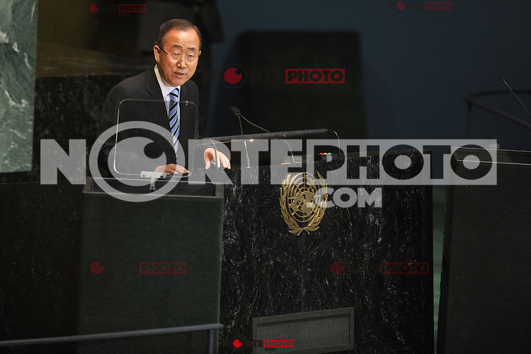 NEW YORK, NY - SEPTEMBER 25: UN Secretary-General Ban Ki-moon addresses the 67th UN General Assembly at the United Nations headquarters in New York, September 25, 2012. ©mpi01/MediaPunch Inc.