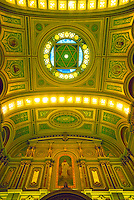 Ceiling and end wall of Temple show architecture and artwork. Philadelphia Pennsylvania United States Masonic Temple.