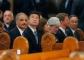 Boston, MA - August 29, 2009 -- Obama Cabinet members; Attorney General Eric Holder, VA Secretary Shinseki, unknown, HUD Secretary Shaun Donovan ..................... during funeral services for U.S. Senator Edward Kennedy at the Basilica of Our Lady of  Perpetual Help in Boston, Massachusetts August 29, 2009.  Senator Kennedy died late Tuesday after a battle with cancer.  .Credit: Brian Snyder- Pool via CNP
