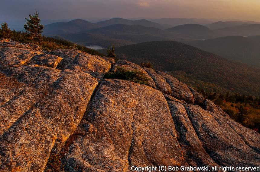 Sunset from the summit of Crane Mt in autumn in the Adirondack Forest Preserve in New York state