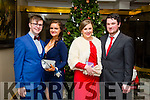 Enjoying the Gaelcholáiste Chiarraí Debs ball at the Brandon Hotel on Saturday were Jessie Brosnan, Cait Kennedy, Orla O'Connor and Sean Cremin