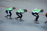 SCHAATSEN: HEERENVEEN: IJsstadion Thialf, 03-06-2013, training merkenteams op zomerijs, Linda de Vries, Ireen Wüst, Sven Kramer, ©foto Martin de Jong