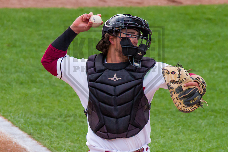Wisconsin Timber Rattlers catcher Nathan Rodriguez (9) during a Midwest League game against the Cedar Rapids Kernels on May 19, 2017 at Fox Cities Stadium in Appleton, Wisconsin.  Wisconsin defeated Cedar Rapids 9-2. (Brad Krause/Krause Sports Photography)