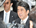 August 15, 2012, Tokyo, Japan - Japan's Former Prime Minister, Shinzo Abe visits Yasukuni Shrine to pay his respects for the war dead on August 15, 2012 in Tokyo, Japan. (Photo by AFLO)