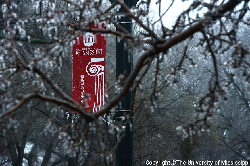 Winter Weather at Ole Miss.  Photo by Kevin Bain/Ole Miss Communications
