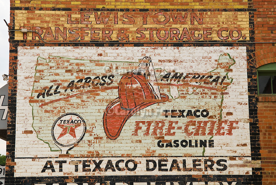 Texaco Fire-Chief gasoline sign painted on brick wall, Lewistown, Montana..