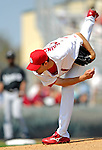 28 February 2007: St. Louis Cardinals pitcher Adam Wainwright on the mound during a pre-season, Grapefruit League game against the Florida Marlins on Opening Day for Spring Training at Roger Dean Stadium in Jupiter, Florida. The Cardinals and Marlins share Roger Dean Stadium and the training facilities which opened in 1998 as a co-development between the Cardinals and the Montreal Expos.<br /> <br /> Mandatory Photo Credit: Ed Wolfstein Photo