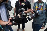 SÃO PAULO,SP,28-10-13 - ATO VIOLENCIA JORNALISTA - Ato contra violencia de jornalistas realizado na tarde na pça Rossevelt. (Foto: Marcelo Brammer/Brazil Photo Press)