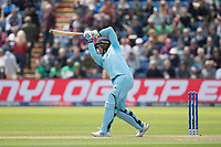 Jason Roy (England) drives Mustafizur Rahman (Bangladesh)  over long off for a straight six during England vs Bangladesh, ICC World Cup Cricket at Sophia Gardens Cardiff on 8th June 2019