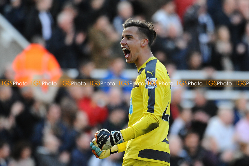 Karl Darlow of Newcastle United celebrates at the final whistle during Newcastle United vs Crystal Palace, Barclays Premier League Football at St. James' Park on 30th April 2016