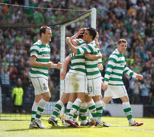 Joe Ledley celebrates his goal