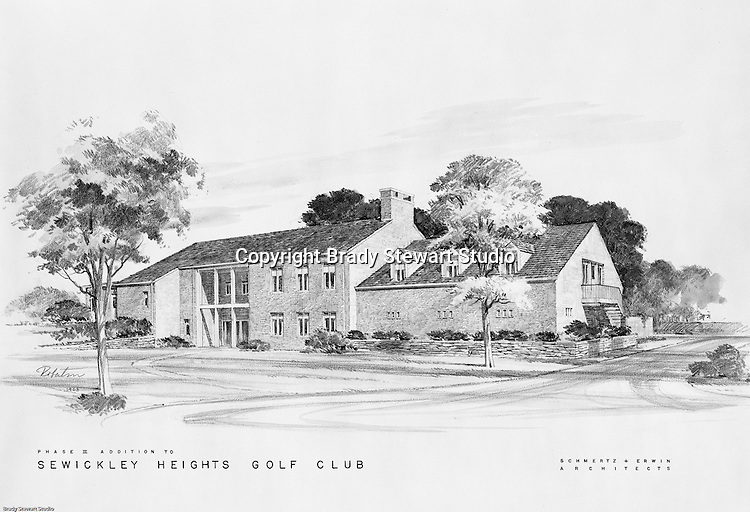 Pittsburgh PA: View of the Phase II addition to the Sewickley Heights Golf Course Club House designed by Schmertz $ Erwin Architects.<br /> <br /> Brady Stewart Studio had a long history of photographing large renderings for Architects prior to delivering them to clients.