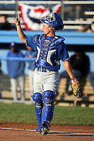 June 18th 2008:  Catcher Chris House of the Auburn Doubledays, Class-A affiliate of the Toronto Blue Jays, during a game at Dwyer Stadium in Batavia, NY.  Photo by:  Mike Janes/Four Seam Images