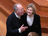 United States Senator Lamar Alexander (Republican of Tennessee), left, and US Permanent Representative to NATO Kay Bailey Hutchison, right, converse prior to the National funeral service in honor of the late former US President George H.W. Bush at the Washington National Cathedral in Washington, DC on Wednesday, December 5, 2018.<br /> Credit: Ron Sachs / CNP<br /> (RESTRICTION: NO New York or New Jersey Newspapers or newspapers within a 75 mile radius of New York City)