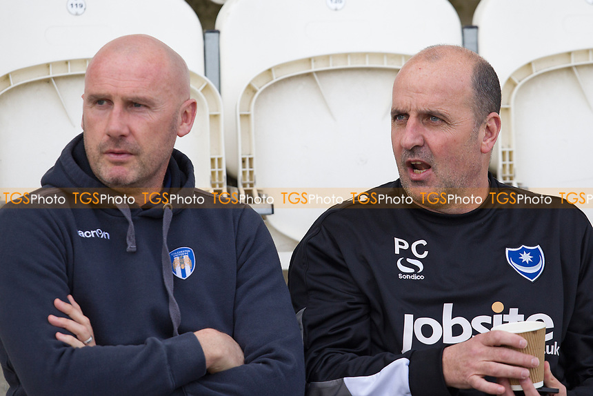 John McGreal, Manager of Colchester United and Paul Cook, Manager of Portsmouth pre kick off during Colchester United vs Portsmouth, Sky Bet EFL League 2 Football at the Weston Homes Community Stadium on 11th March 2017