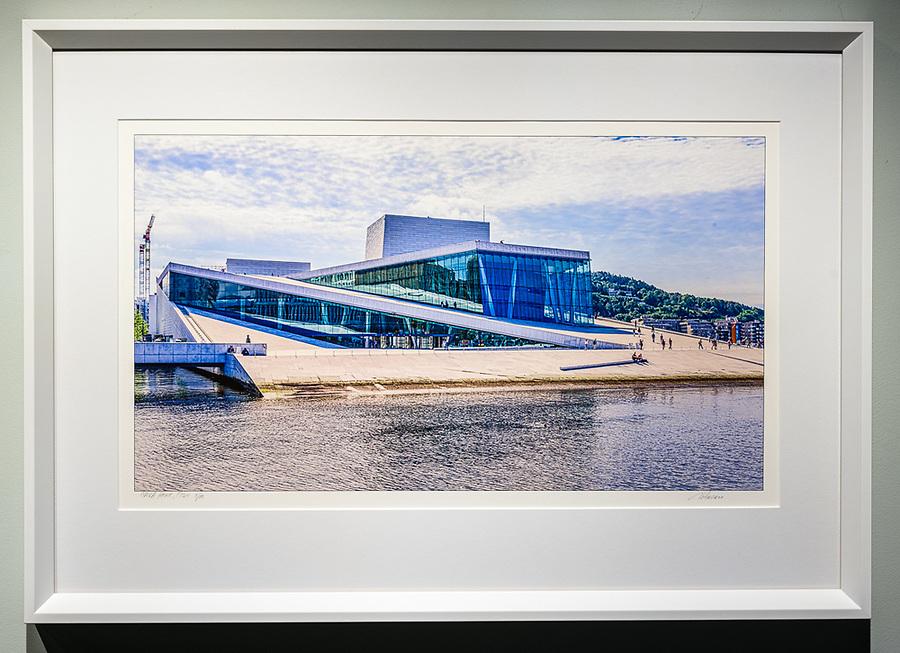"""Framed Size 18""""h x 26""""w,  $500.<br /> White bevelwood frame"""