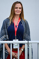 Brooks Koepka's (USA) girlfriend Jena Sims watches near the first tee during round 2 Four-Ball of the 2017 President's Cup, Liberty National Golf Club, Jersey City, New Jersey, USA. 9/29/2017.<br /> Picture: Golffile | Ken Murray<br /> <br /> All photo usage must carry mandatory copyright credit (&copy; Golffile | Ken Murray)