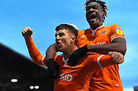 Chris Long left celebrates his goal with Armand Gnanduillet of Blackpool  during Portsmouth vs Blackpool, Sky Bet EFL League 1 Football at Fratton Park on 12th January 2019