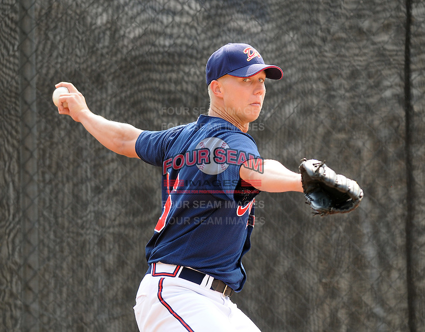 July 15, 2009: LHP Eric Barrett (16) of the Danville Braves, rookie Appalachian League affiliate of the Atlanta Braves, before a game at Dan Daniel Memorial Park in Danville, Va. Photo by:  Tom Priddy/Four Seam Images