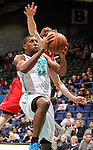 SIOUX FALLS, SD - MARCH 5:  Demetris Nichols #23 from the Sioux Falls Skyforcetakes the ball to the basket past Coby Karl #11 from the Idaho Stampede in the first half of their game Tuesday night at the Sioux Falls Arena. (Photo by Dave Eggen/Inertia)