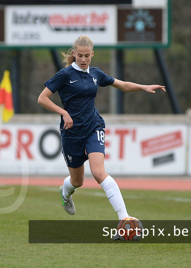 20160319 - FLERS , FRANCE : French Juliette Vidal pictured during the soccer match between the women under 17 teams of  France and the Czech Republic , on the first matchday in group 3 of the UEFA Women Under17 Elite rounds at Stade du Haze in Flers , France . Saturday 19th March 2016 . PHOTO DAVID CATRY