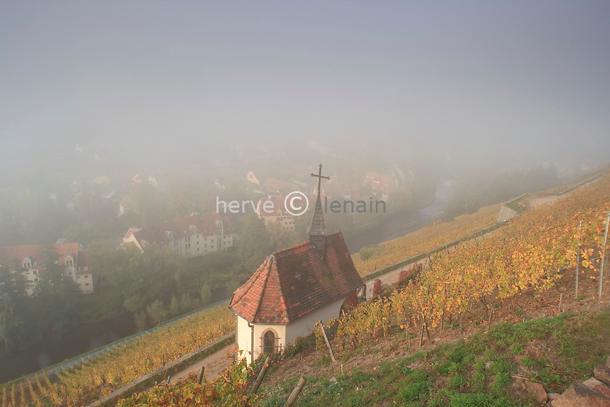 France, Alsace, Haut-Rhin, 68, Thann, chapelle à flanc du coteau du vignoble Grand Cru de Rangen // France, Alsace, Haut-Rhin, Thann, chapel on the hillside vineyards of Grand Cru Rangen