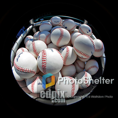 8 June 2010: Baseballs are ready for a game between the Washington Nationals and the Pittsburgh Pirates at Nationals Park in Washington, DC. The Nationals defeated the Pirates 5-2 in the series opener where pitching sensation Stephen Strasburg made his Major League debut, striking out 14 batters and notching his first win in the majors. Mandatory Credit: Ed Wolfstein Photo