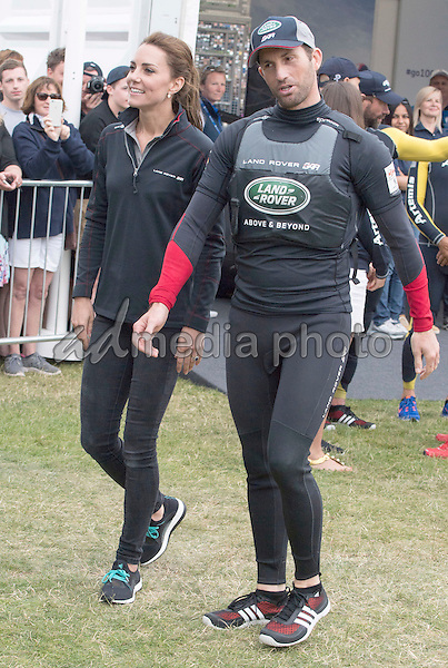 24 July 2016 - Princess Kate Duchess of Cambridge with Sir Ben Ainslie at the America's Cup World Series Race in Portsmouth. The royal couple visited the home of the British competitors for the America's Cup before observing the ongoing competition. Photo Credit: ALPR/AdMedia