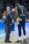 Fenerbahce Dogus coach Zeljko Obradovic talking with Jason Thompson during Turkish Airlines Euroleague match between Real Madrid and Fenerbahce Dogus at Wizink Center in Madrid , Spain. March 02, 2018. (ALTERPHOTOS/Borja B.Hojas)