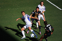 Jimmy Conrad (12) of the Kansas City Wizards looks to play the ball. The Philadelphia Union and the Kansas City Wizards played to a 1-1 tie during a Major League Soccer (MLS) match at PPL Park in Chester, PA, on September 04, 2010.