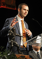 NWA Democrat-Gazette/DAVID GOTTSCHALK Hunter Renfrow, wide receiver at Clemson University, speaks Monday, December 3, 2018, after receiving the 2018 Burlsworth Trophy at the Northwest Arkansas Convention Center in Springdale. The national award is named after Brandon Burlsworth, a former walk-on at the University of Arkansas, and honors the athletic accomplishments of the walk-on student athlete.