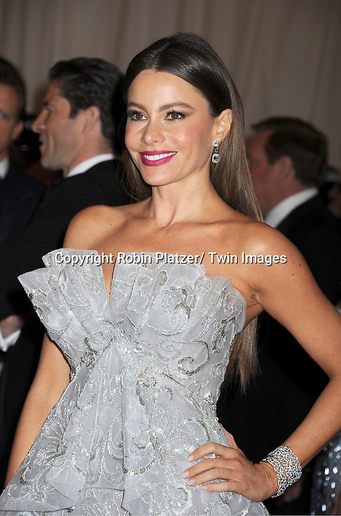 """Sofia Vergara  in Vera Wang dress attends the Costume Institute Gala Benefit celebrating """"Schiaparelli and Prada: Impossible Conversations"""".an exhibition at the Metropolitan Museum of Art in New York City on May 7, 2012."""