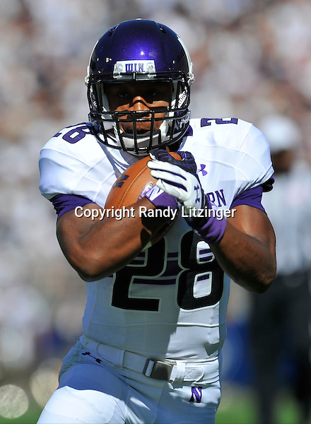 27 September 2014:  Northwestern RB Justin Jackson (28). The Penn State Nittany Lions vs. the Northwestern Wildcats at Beaver Stadium in State College, PA.